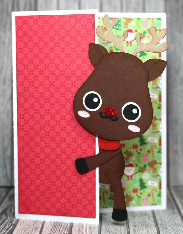 Peeker Reindeer Card
