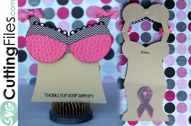 Awareness Bra Shaped Card