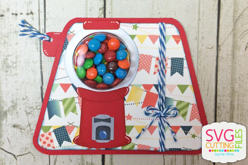 Bubble Gum Machine Treat Cup Card
