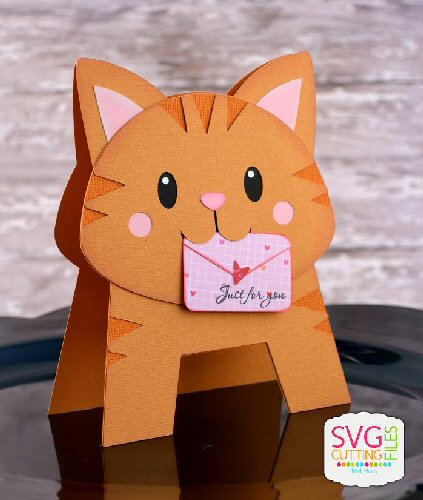 Cat Letter Standing Card Shape