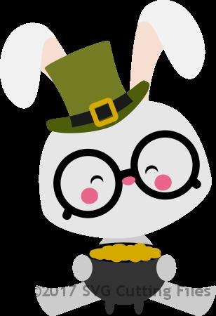 Chibi Bunny holding Pot of Gold
