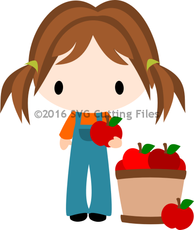 Chibi Fall Girl with Apples Barrel