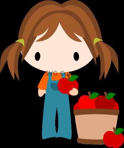 Chibi Fall Girl with Apples Barrel