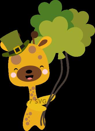 Chibi Giraffe with Shamrock Balloons