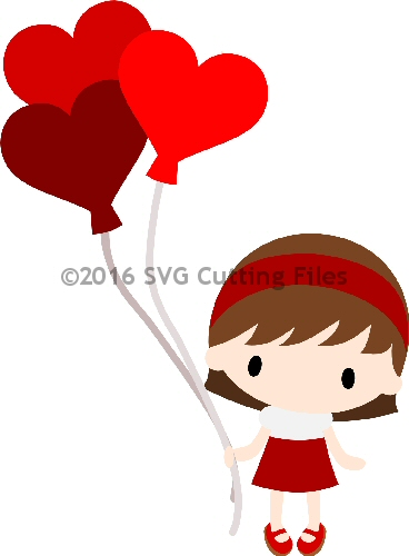 Chibi Girl Heart Balloons