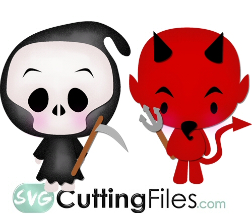 Chibi Devil and Grim Reaper