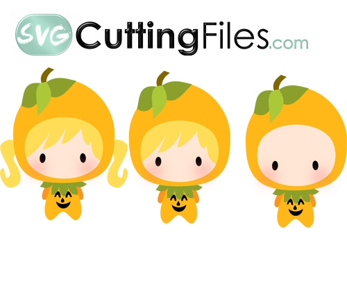 Chibi Dressed kids as Pumpkins