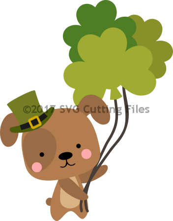 Chibi Puppy with Shamrock Balloons