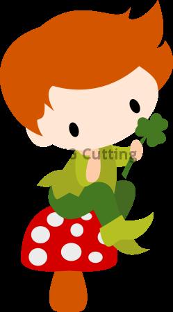 Chibi St Pat Elf on Mushroom