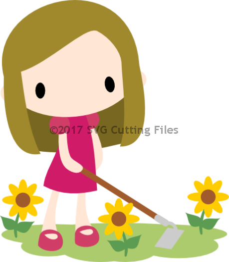Chibi Sunflower Girl with Hoe