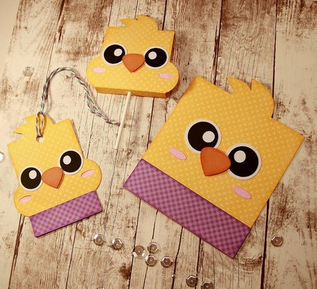 Chick Card - Hang Tag and Lollipop Set