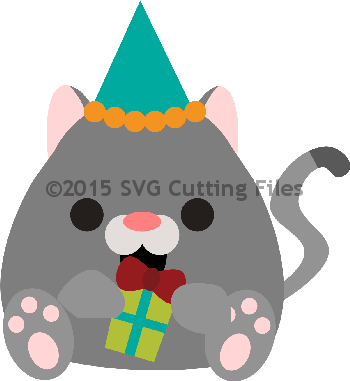 Chunky Cat with Present and Party Hat