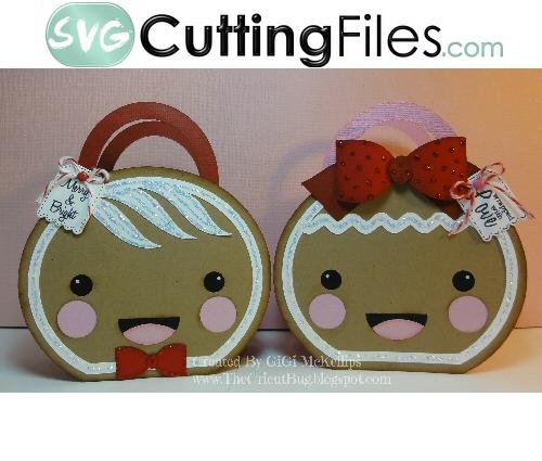 Gingerbread Head Handled Bag Set