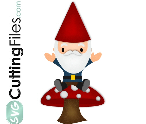 Christmas Gnome Svg.Garden Gnome On Mushroom Svg Cutting File