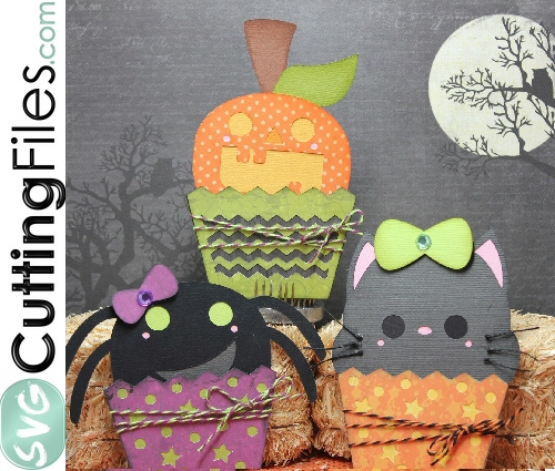 Halloween Cupcake Slide Card SET