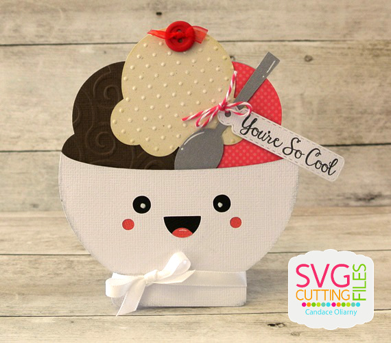 Ice Cream Gift Card Holder Ice Cream Bowl Shaped Card