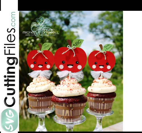 Kawaii Apple Topper and Barrel Cupcake Wrappers