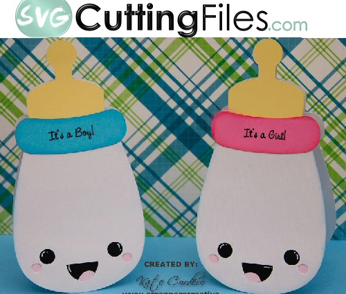 Kawaii Baby Bottle Shaped Card