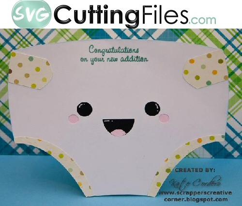 Kawaii Baby Diaper Shaped Card