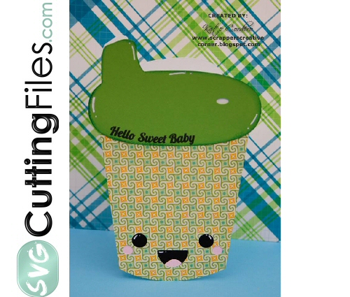 Kawaii Baby Sippy Cup Shaped Card