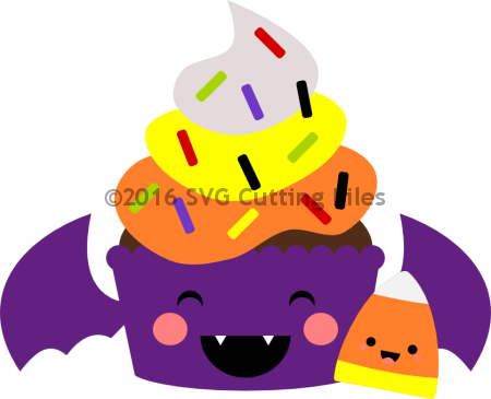 Kawaii Bat Candy Corn Cupcake