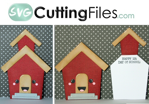 Kawaii School house Slider Card