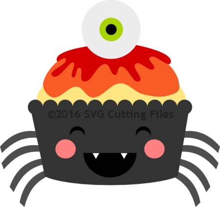 Kawaii Spider Eyeball Cupcake