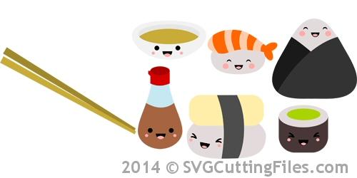 Kawaii Sushi SVG Cutting File