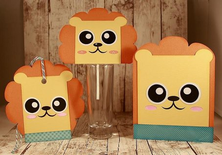 Lion Card - Hang Tag and Lollipop Set
