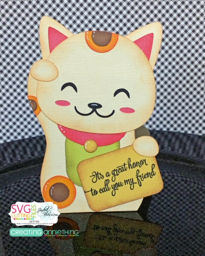 Lucky Cat Shaped Card