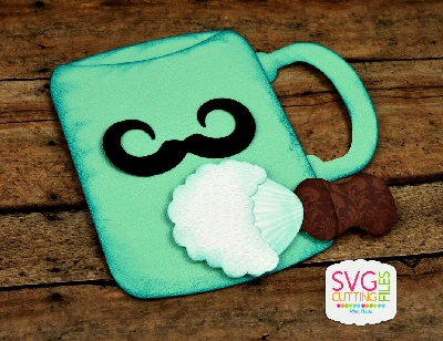 Mustache Mug and Brush Pocket Keeper