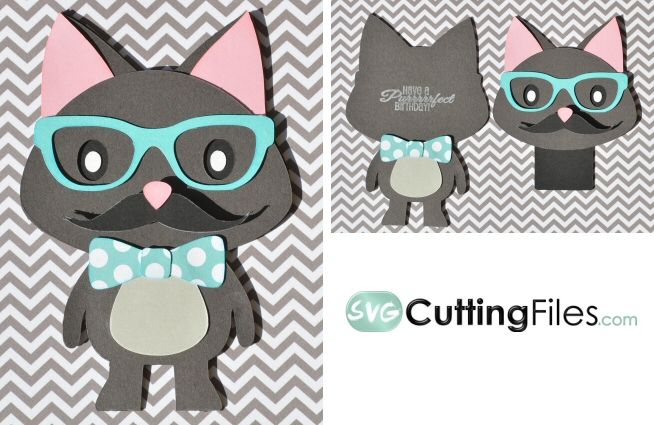 Nerdy Bow Tie Kitty Card