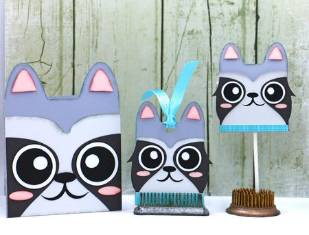 Raccoon Card - Hang Tag and Lollipop Set