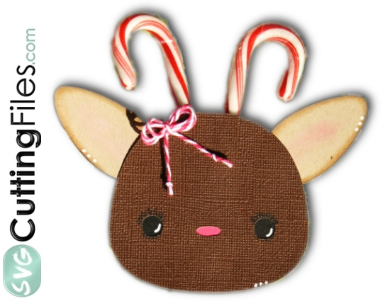 Candy Cane Reindeer Head