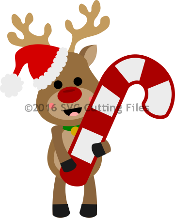 Reindeer Holding Candy Cane