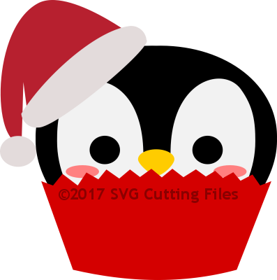 Christmas Santa Penguin Cupcake