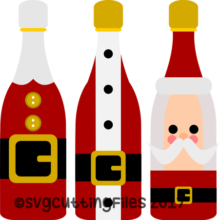 Santa Wine Bottle Trio
