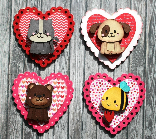 Scallop Heart Mini Animal Card set