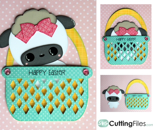 Sheep In Basket Peek Out slider card