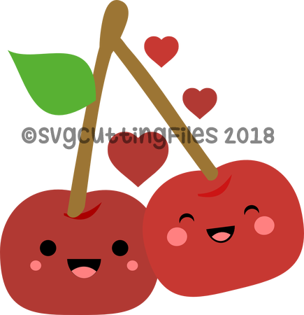 Simple Kawaii Cherries in love