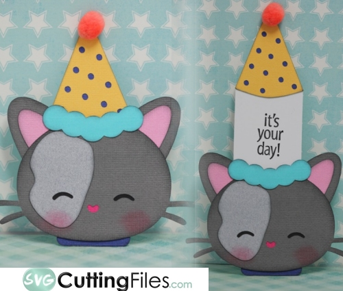 Party Hat Kitty Slide Card