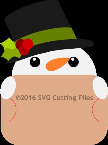 Snowman Top Hat Giftcard Peeker