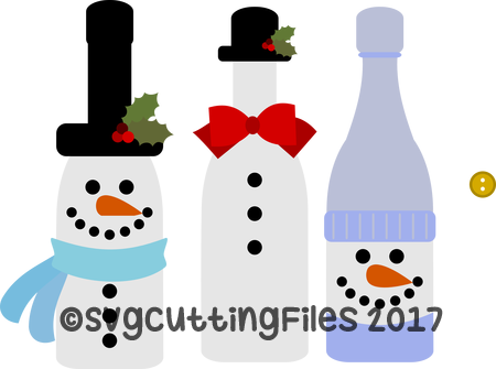 Snowman Wine Bottle Trio