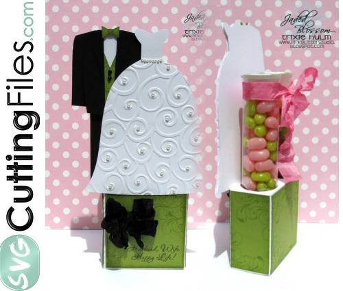 Wedding Couple (Dress) Candy Tube Holder