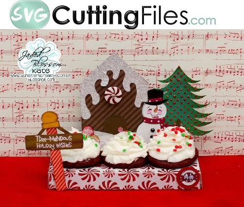 Triple Cupcake Snow Scene