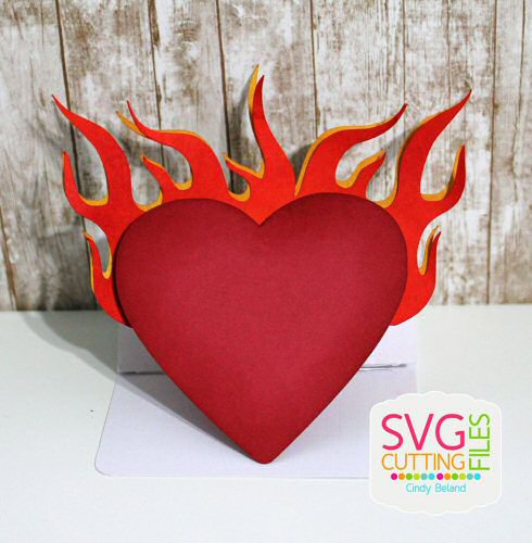 Accordian Heart Flame Card
