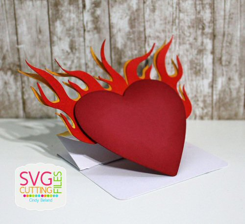 Accordian Heart Flame Card